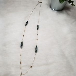 LOFT Green Marble Gold Necklace